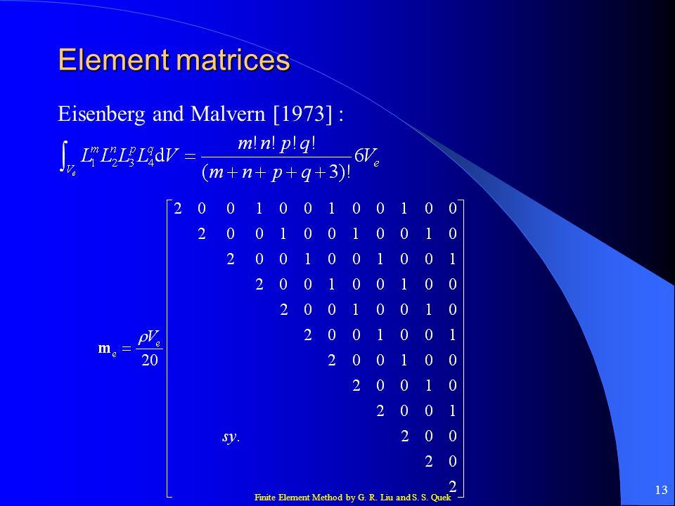 Element matrices Eisenberg and Malvern [1973] :